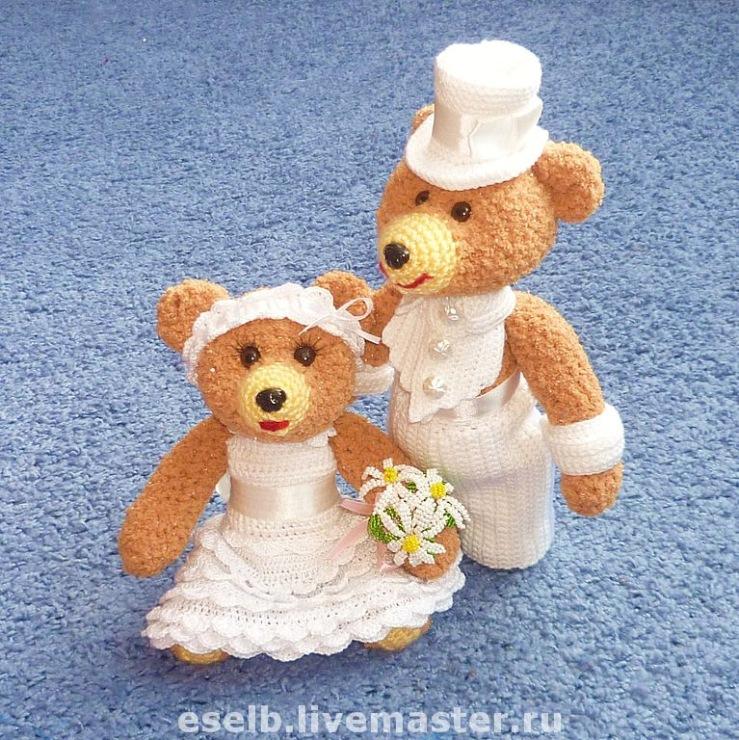 Как связать свадебных мишек крючком 143