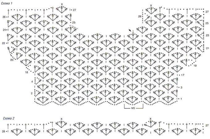 Летние кофты крючком схема