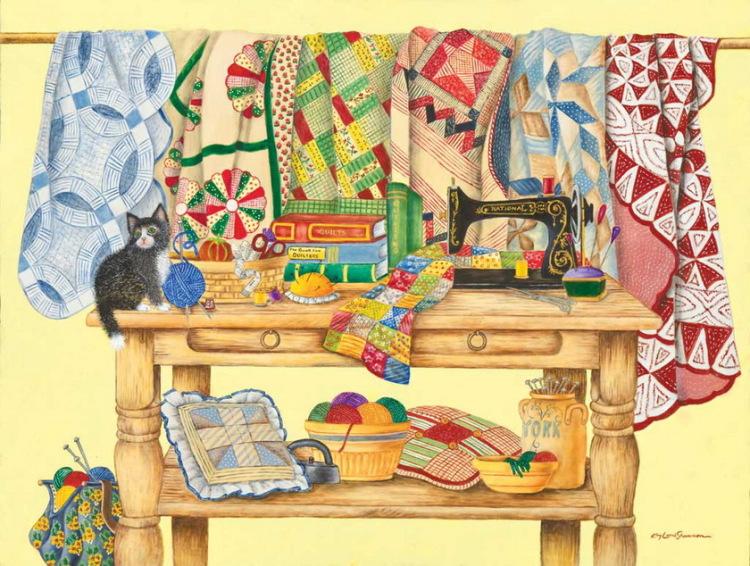 Лоскутное шитье одеяла в картинах художников