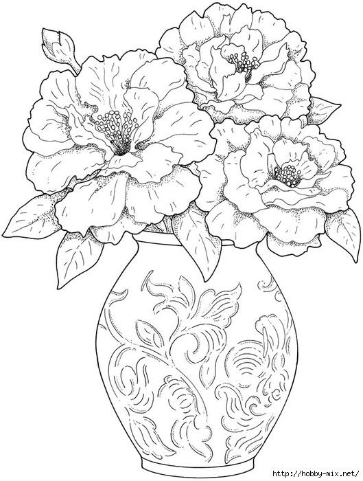 Красивая ваза с цветами рисовать
