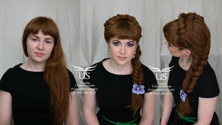Прически косы на средние волосы с челкой своими руками