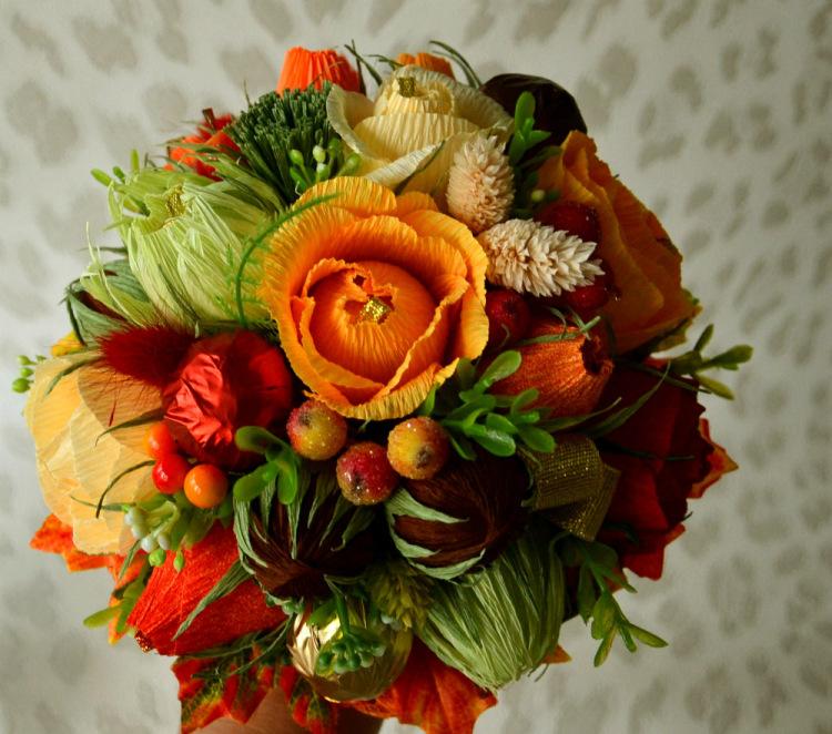 Осенний букет из гофрированной бумаги своими руками мастер класс 60
