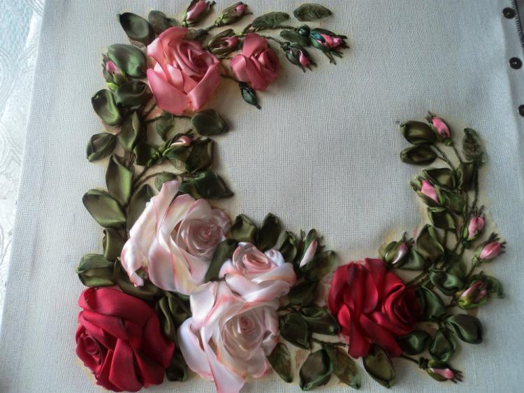 Вышивка лентами розы-мастер класс 71