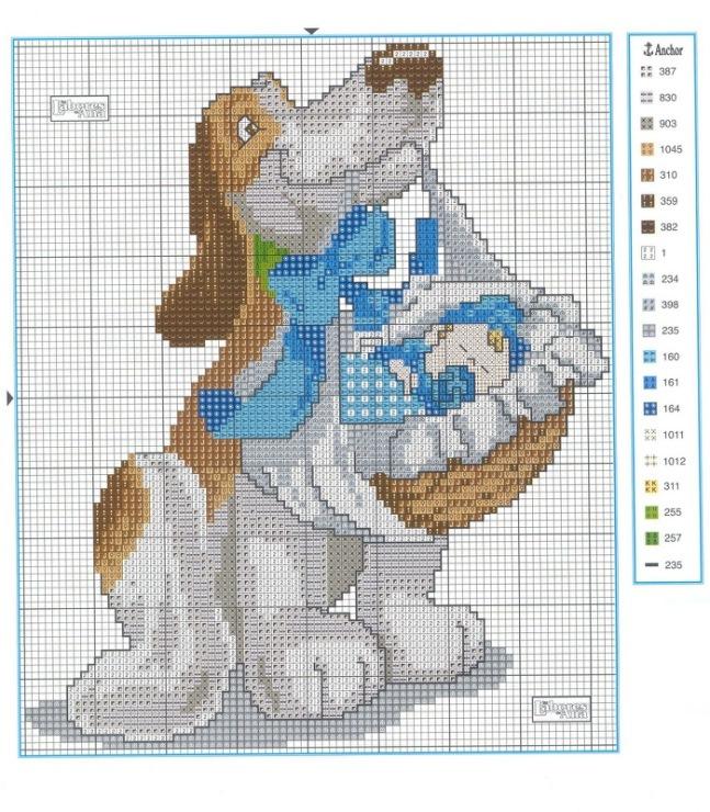 схемы вышивки мальчик и собака