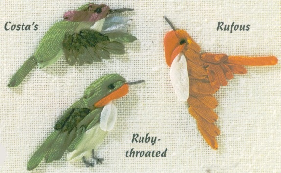 Схема вышивки лентами птиц 16