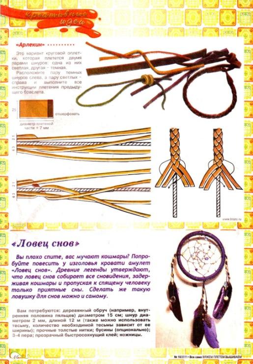 Схема плетения кожаного браслета
