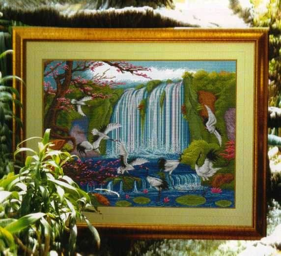 Вышивка крестом журавли у водопада 45