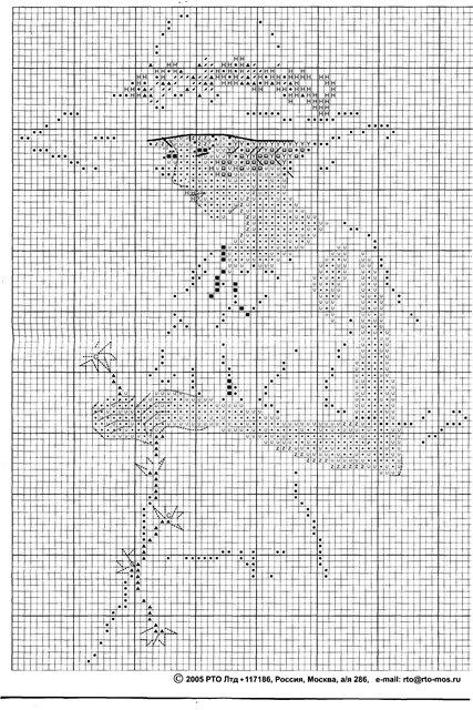 Вышивки схемы дама в шляпе монохром 7